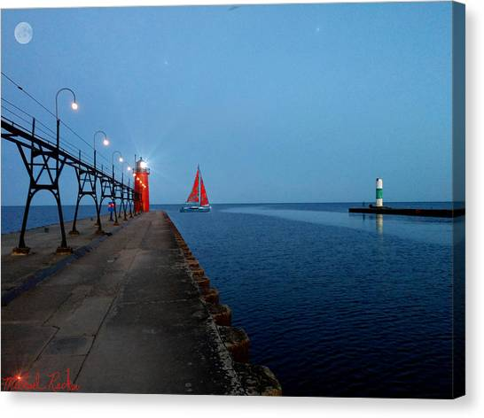 Canvas Print - South Haven Lighthouse Pier by Michael Rucker