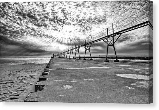 South Haven Pier Wide Angle Canvas Print