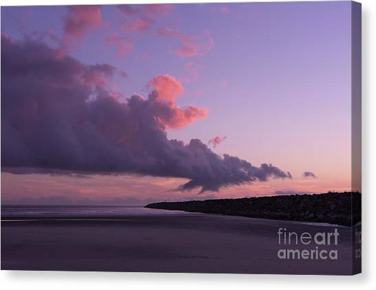 South Pacific Canvas Print - South Jetty At Sunset by Masako Metz