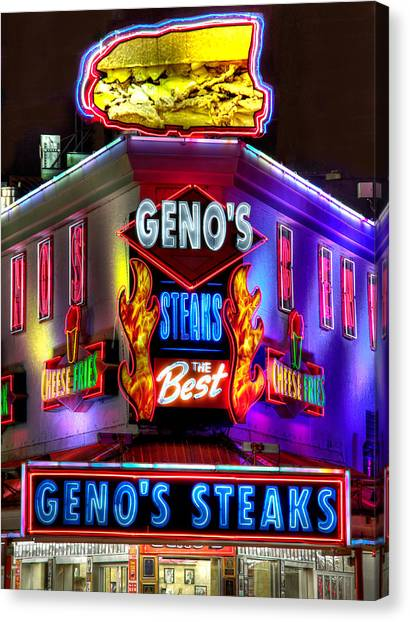 South Philly Skyline - Geno's Steaks-1 - Ninth And Passyunk In South Philadelphia Canvas Print