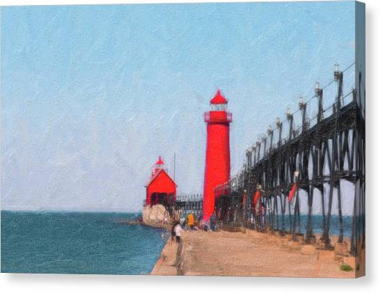 Lighthouses Canvas Print - South Pier Of Grand Haven by Tom Mc Nemar