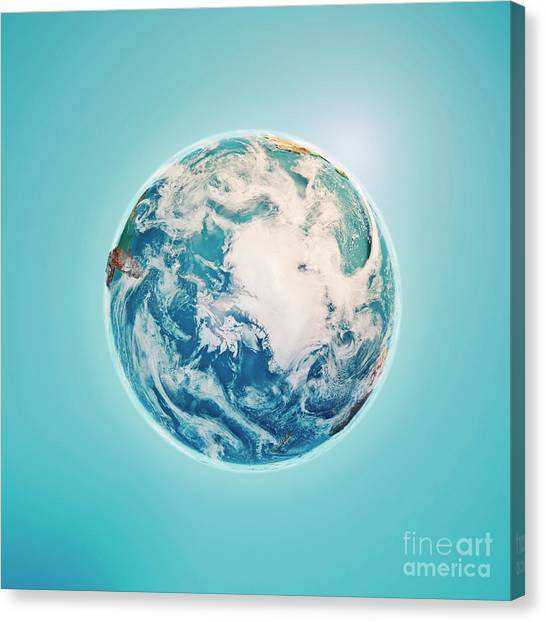 Cartography Canvas Print - South Pole 3d Render Planet Earth Clouds by Frank Ramspott