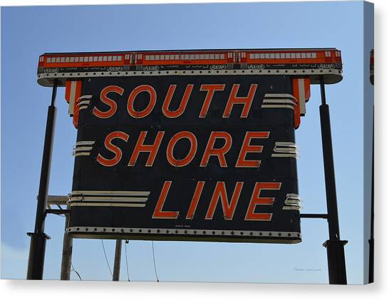 Thomas The Train Canvas Print - South Shore Line Signage Digital Art by Thomas Woolworth