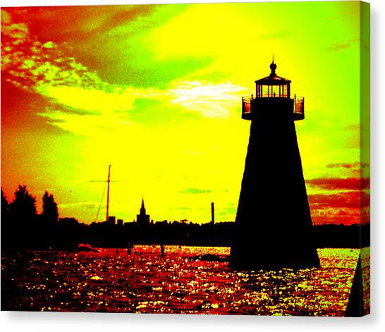 Fishing Canvas Print - Southcoast Silhouette  by Kate Arsenault