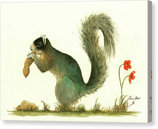 Squirrels Canvas Print - Southern Fox Squirrel Peanut by Juan Bosco