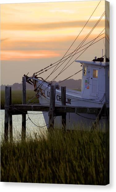 Shrimp Boats Canvas Print - Southern Shrimp Boat Sunset by Dustin K Ryan