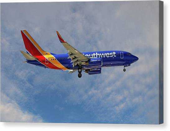 Airlines Canvas Print - Southwest Airlines Boeing 737-76n by Smart Aviation