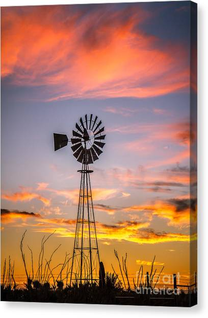 Desert Sunrises Canvas Print - Southwest Windmill by Robert Bales
