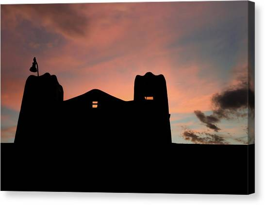 Southwest Canvas Print - Santa Fe Sunset Silhouette by Gregory Ballos