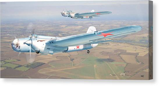 Soviet Bomber Ar-2 Of The Fortieth Years In Formation Flying Canvas Print by Alex Arkhipau