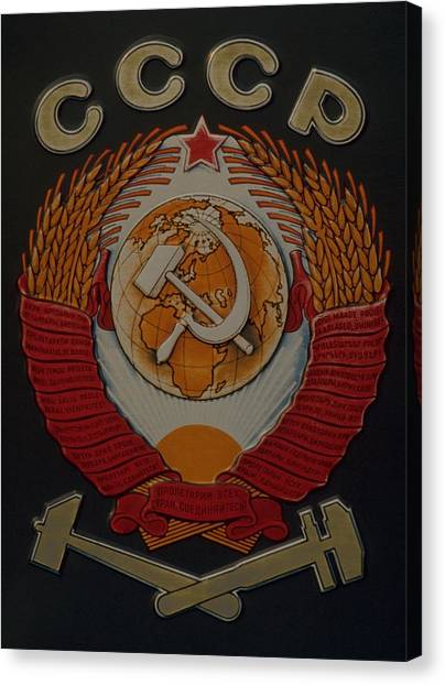 Red Travelpics Canvas Print - Soviet Railway Emblem by Travel Pics