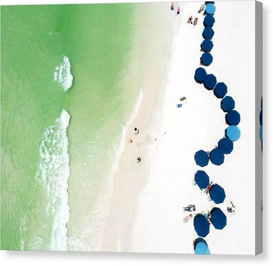 Sowal Beach Umbrellas Aerial Canvas Print