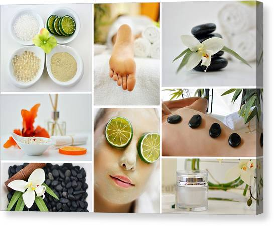 Spa Massage Facial Collage Canvas Print