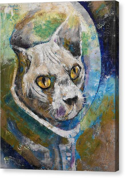 Astronaut Canvas Print - Space Cat by Michael Creese