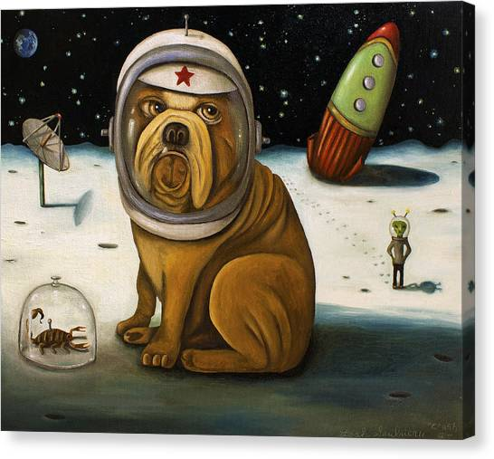 Dogs Canvas Print - Space Crash by Leah Saulnier The Painting Maniac
