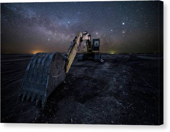 Excavators Canvas Print - Space Excavator  by Aaron J Groen