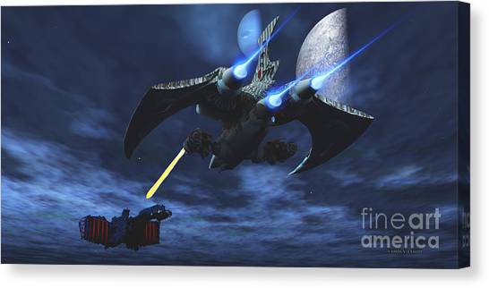Stellar Canvas Print - Space Fight by Corey Ford