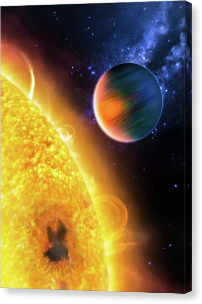 Canvas Print featuring the photograph Space Image Extrasolar Planet Yellow Orange Blue by Matthias Hauser
