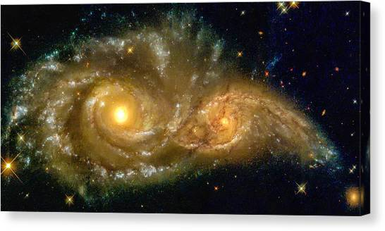 Space Image Spiral Galaxy Encounter Canvas Print