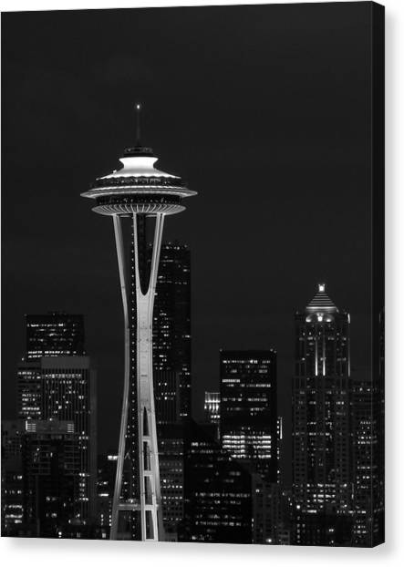 Space Needle At Night In Black And White Canvas Print