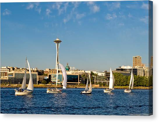 Space Needle Sailboats Canvas Print by Tom Dowd