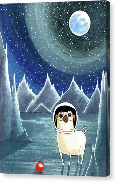 Pugs Canvas Print - Space Pug  by Andrew Hitchen