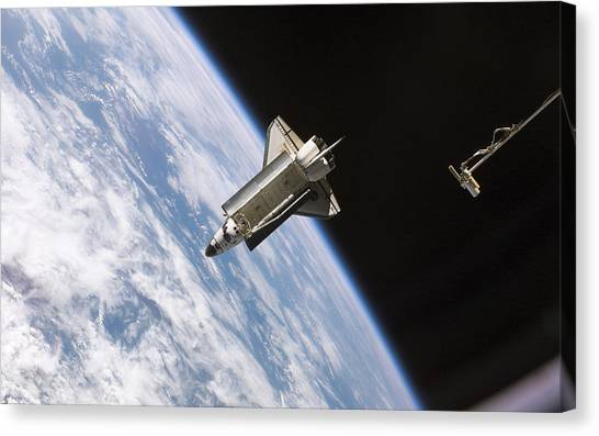 Space Ships Canvas Print - Space Shuttle Atlantis by Super Lovely
