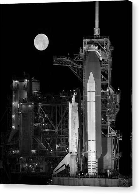 Space Ships Canvas Print - Space Shuttle Discovery On Launch Pad by War Is Hell Store