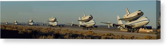 Space Shuttle Endeavour Departs Edwards Afb December 10 2008 Multiple Exposure Canvas Print by Brian Lockett