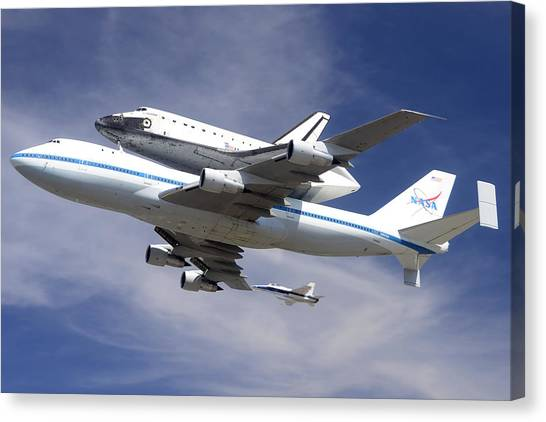 Space Shuttle Endeavour Over Lax With Hornet Chase Plane September 21 2012 Canvas Print