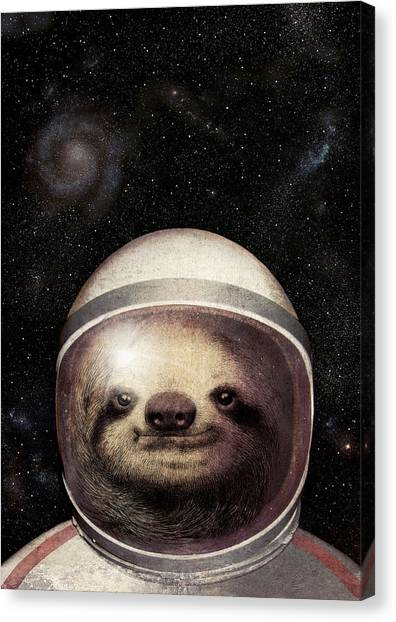 Astronauts Canvas Print - Space Sloth by Eric Fan