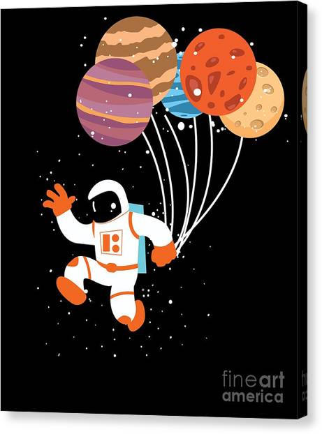 Canvas Print - Spaceman Planet Balloons by Thomas Larch