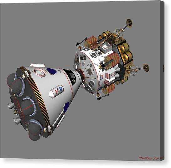 Spaceship Columbia And Lander Morningstar Canvas Print