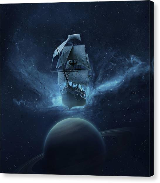 Planet Canvas Print - Spaceship by Zoltan Toth