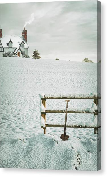 Shovels Canvas Print - Spade Leaning Against Fence In The Snow by Amanda Elwell
