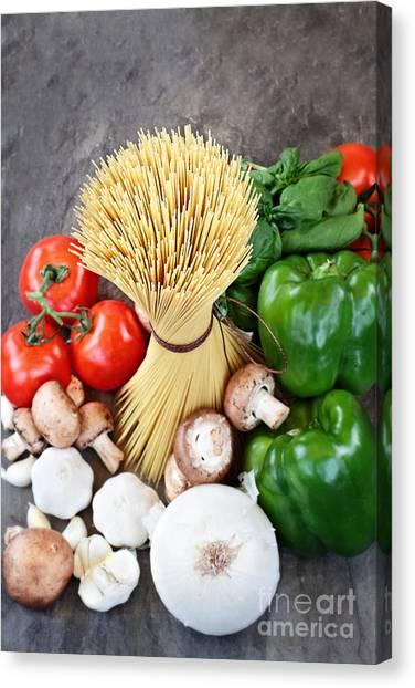 Portobello Mushroom Canvas Print - Spaghetti  by Stephanie Frey