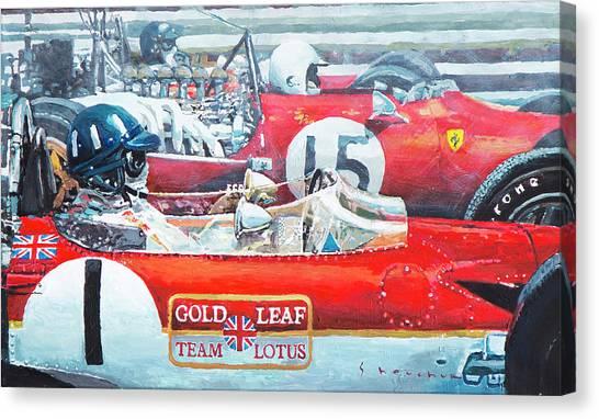 Graham Canvas Print - Spain Gp 1969  Lotus 49 Hill  Ferrari 312 Amon  Lotus 49b Rindt  by Yuriy Shevchuk