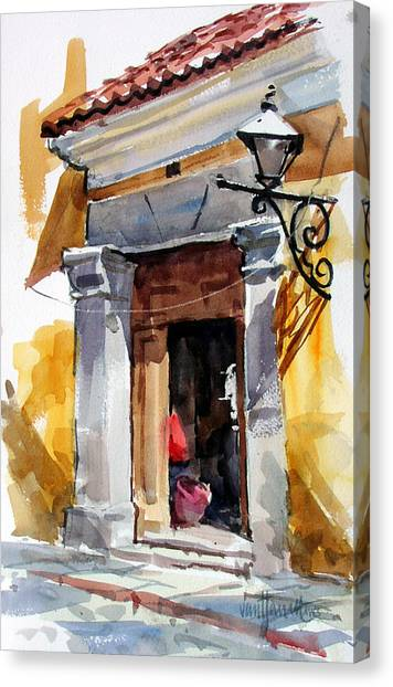 Spanish Colonial Portal Canvas Print by Tony Van Hasselt