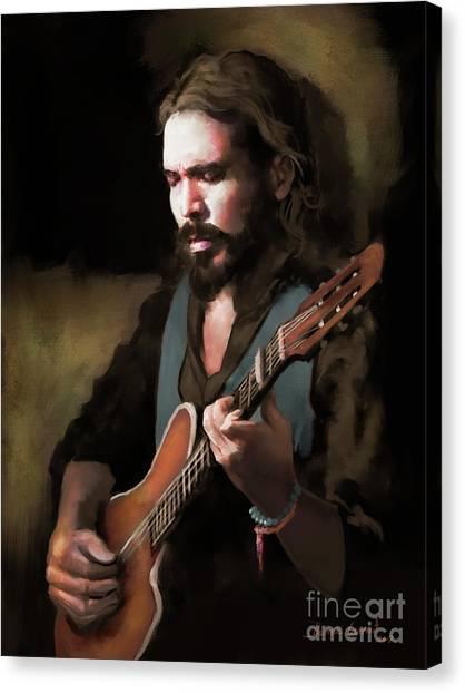 Canvas Print featuring the digital art Spanish Guitar - El Javi by Dwayne Glapion