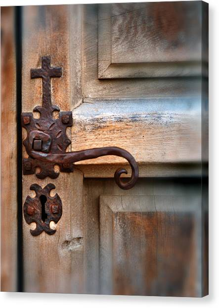 Spanish Mission Door Handle Canvas Print