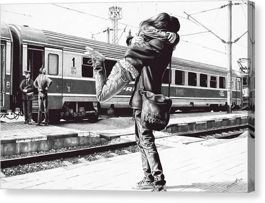 Ballpoint Pens Canvas Print - Sparkle At The Train Station - Ballpoint Pen Art by Andrey Poletaev