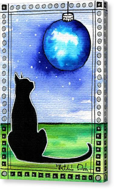 Sparkling Blue Bauble - Christmas Cat Canvas Print