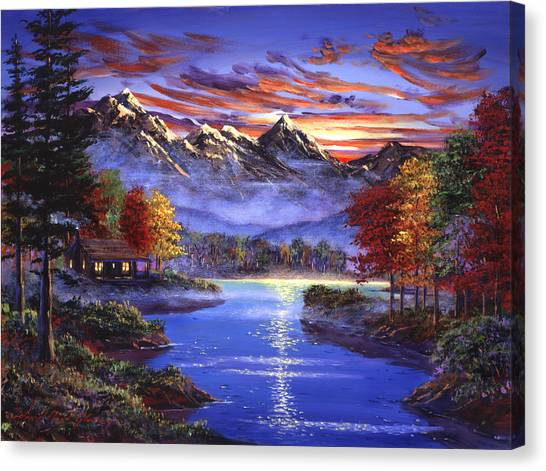 Lake Sunsets Canvas Print - Sparkling Lake by David Lloyd Glover