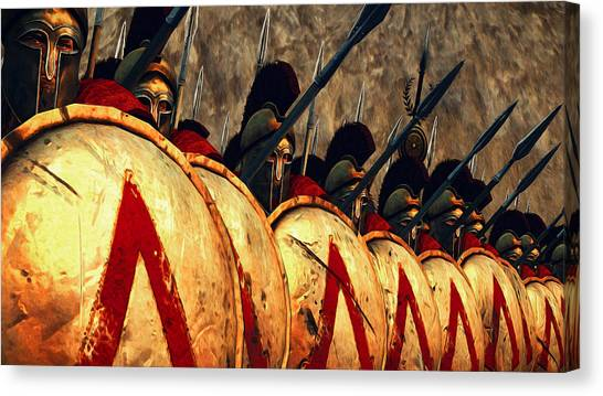 Spartan Army - Wall Of Spears Canvas Print