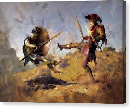 Spartan Hoplite - 12 Canvas Print