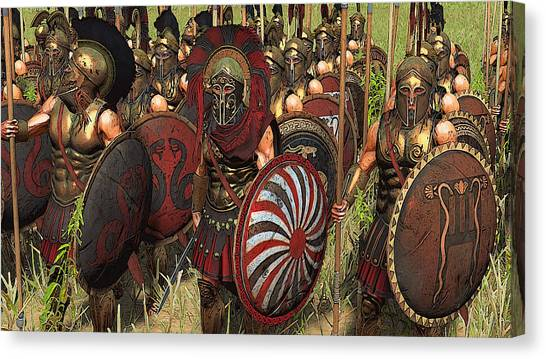 Spartan Warriors Before The Battle Canvas Print
