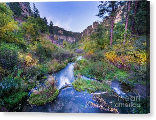 Spearfishing Canvas Print - Spearfish Falls Evening by Twenty Two North Photography