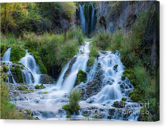 Spearfishing Canvas Print - Spearfish Falls In Spearfish Canyon by Twenty Two North Photography