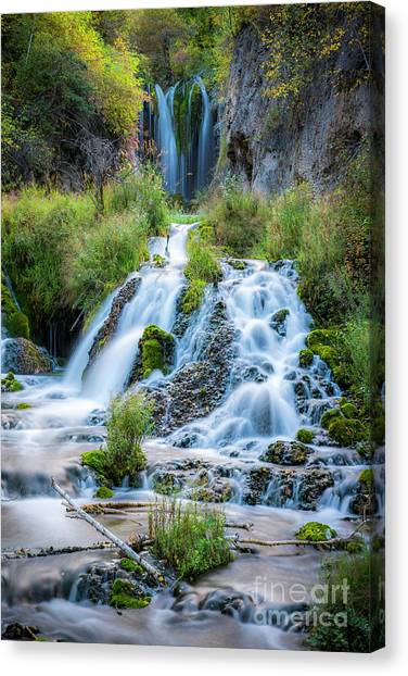 Spearfishing Canvas Print - Spearfish Falls Vertical by Twenty Two North Photography