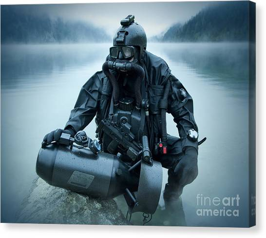 Special Forces Canvas Print - Special Operations Forces Combat Diver by Tom Weber